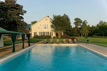 Large pool with pool house