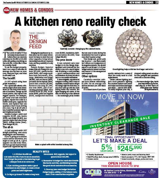 Toronto Sun, A Kitchen Reno Reality Check, October 2016