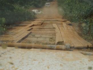Crossing the wooden bridge