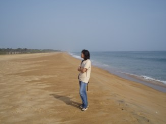Seonghi enjoying the beach on the way to Marshall, Liberia