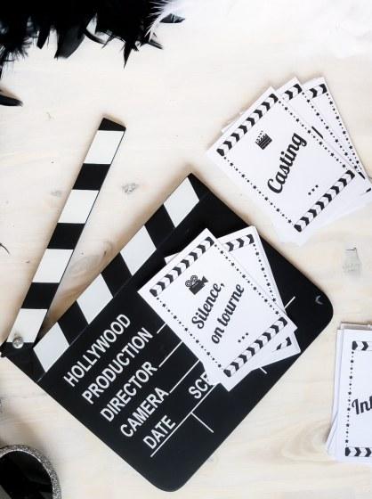 """Kit """"Une journée à Hollywood"""" pour une fête sur le thème du cinéma"""