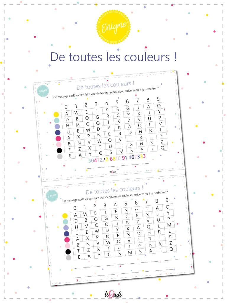 énigme pour escape game pour enfants. code couleurs. Cryptage couleur. tiDudi