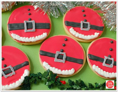 Santa Belly decorated christmas cookies at TidyMom.net