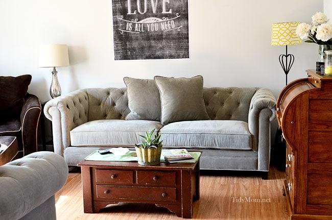 martha stewart sofa saybridge review cloth designs india tufted back