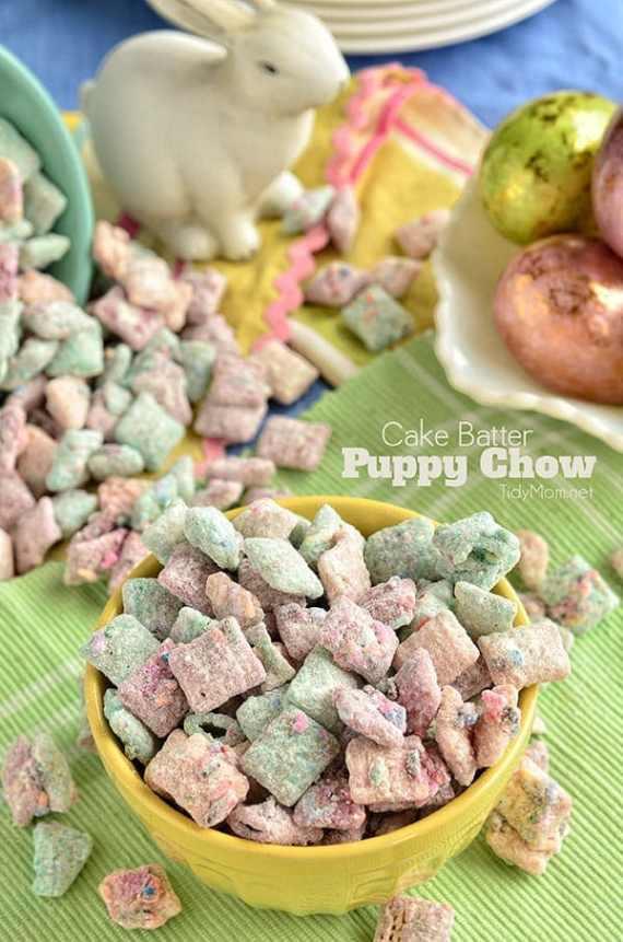 "Cake Batter Puppy Chow"" snack mix recipe at TidyMom.net #yearofcelebrations"
