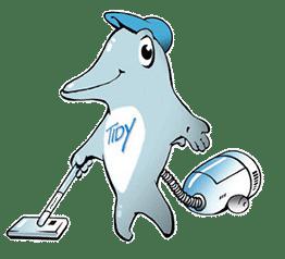 Logo TIDY Delfin mit Staubsauger