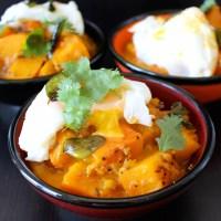 Curry de potiron doux d'Hokkaido, oeuf poché