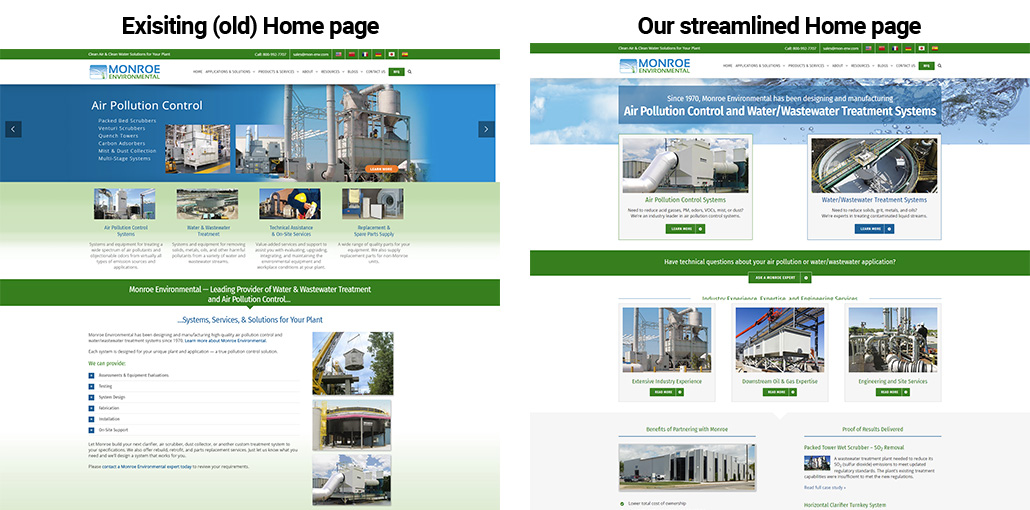 industrial website home page redesign