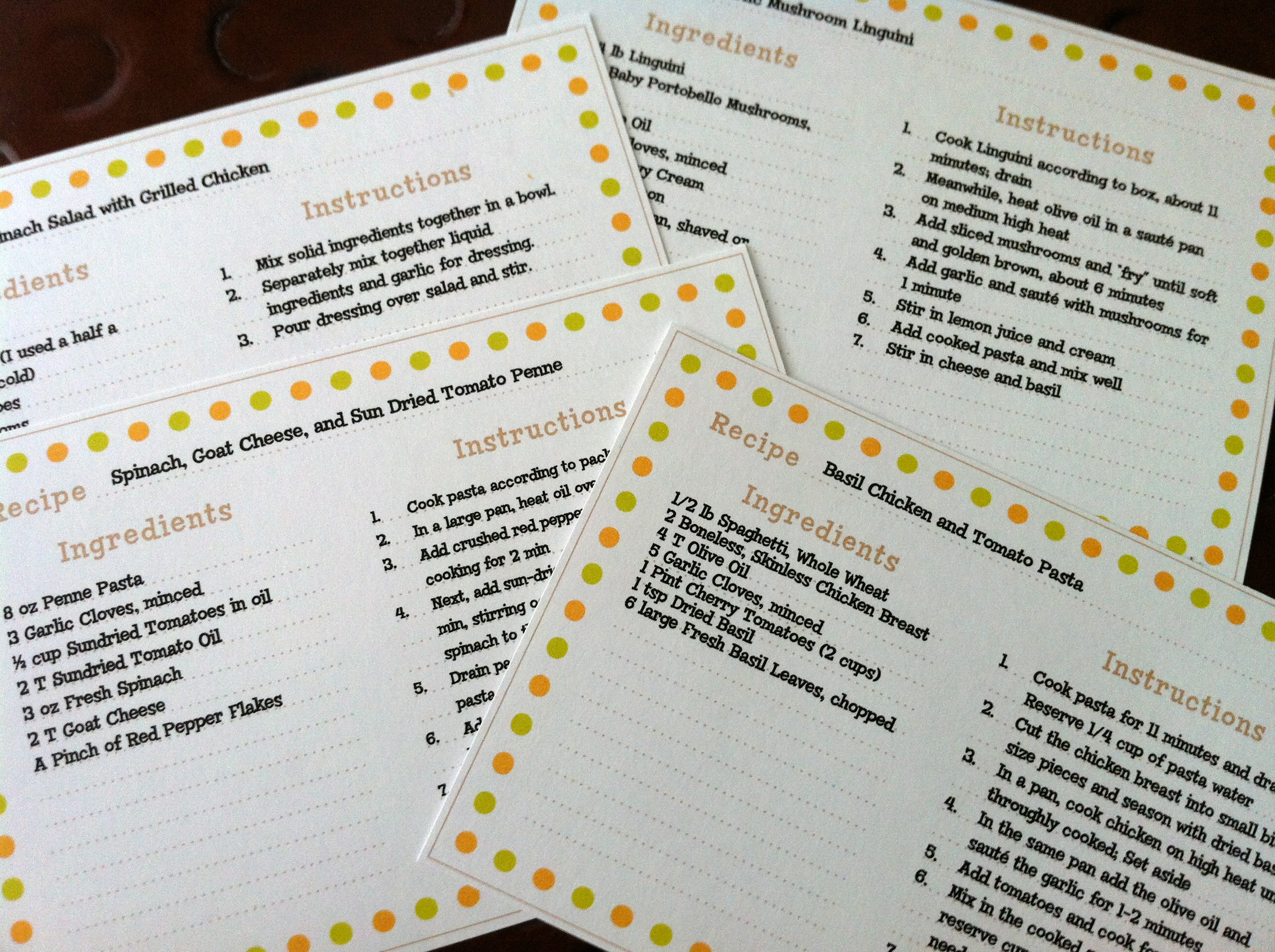 recipes card templates word