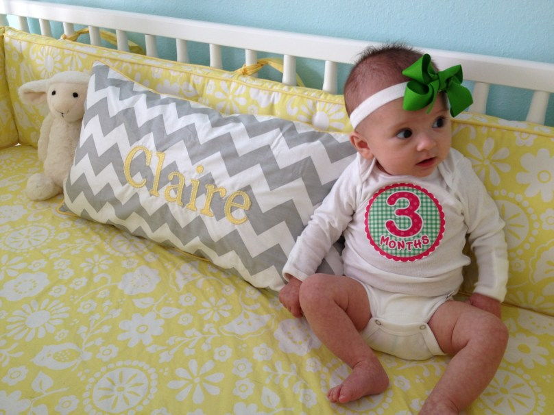 3 month photoshoot! Wanted nothing to do with me and everything to do with her Finding Nemo Soother!