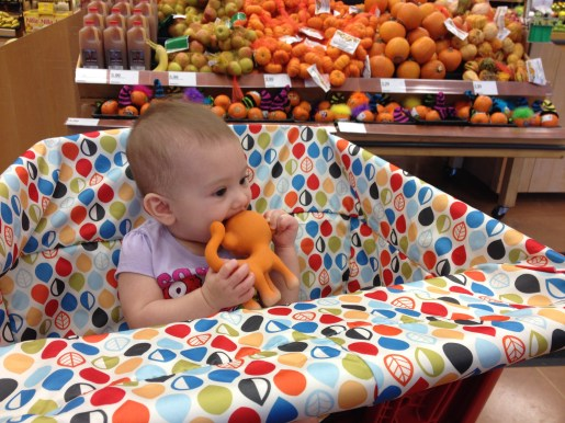 First time in the grocery cart! Life got a lot easier!