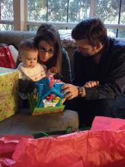 Opening gifts at Honey and Pops' house.