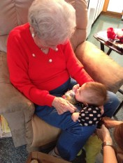 visiting her great-grandmother