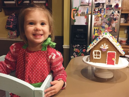 Made her first gingerbread house with Daddy!