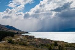 Verregneter Empfang am Lake Pukaki