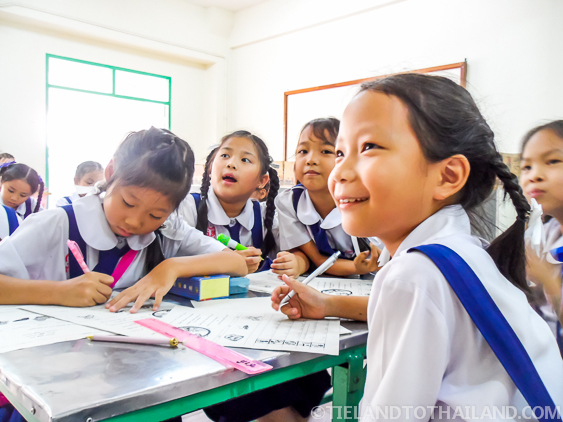 Smiling Thai Students at an international school in Chiang Mai, Thailand