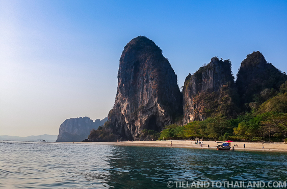 View of the northern end of Cave Beach in Krabi, Thailand from a Long-Tail Boat