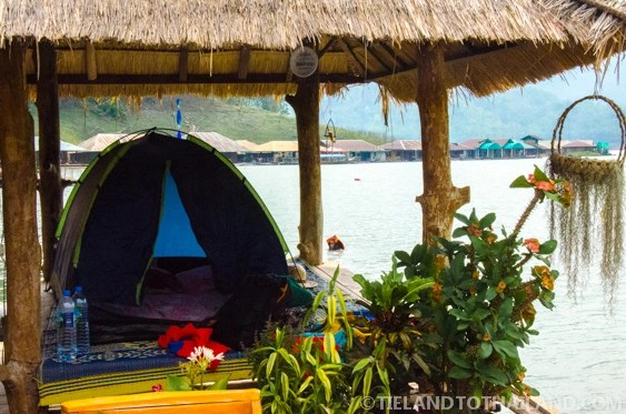 Tents for rent at the Mae Ngat Dam Floating Houses