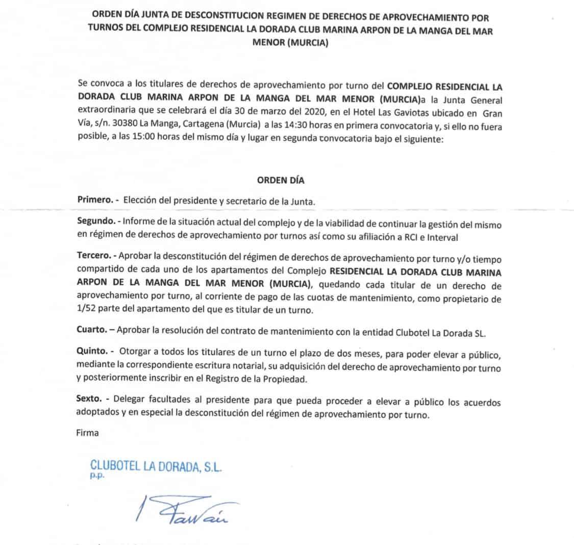 marina arpon carta de comunidad desconstitución regimen de multipropiedad