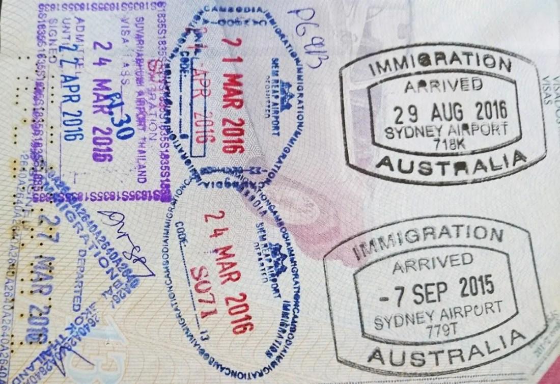 sello pasaporte australia