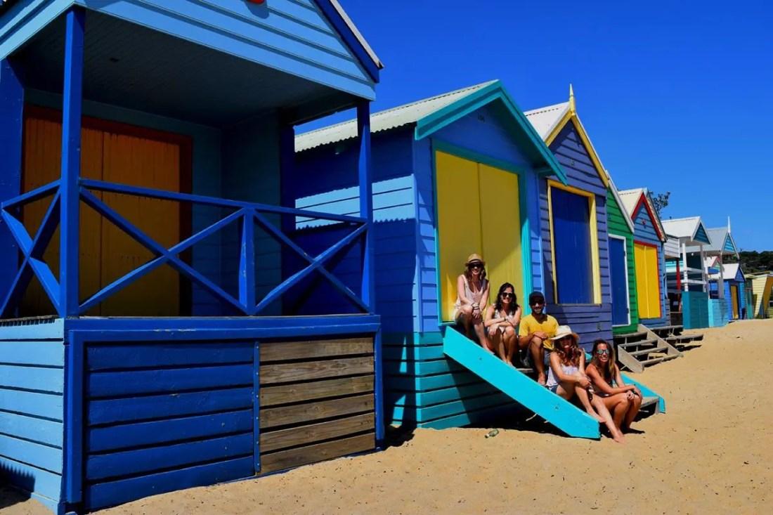 Mount Martha bathing boxes, Ruta de Sydney a Melbourne, Victoria, Australia