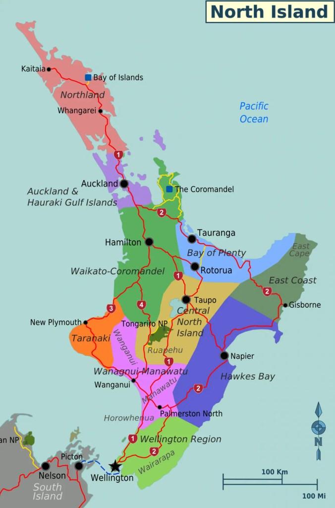 mapa regiones isla norte de Nueva Zelanda
