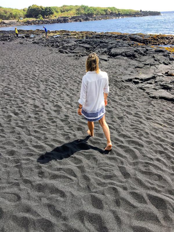 playa arena negra Big Island Hawaii