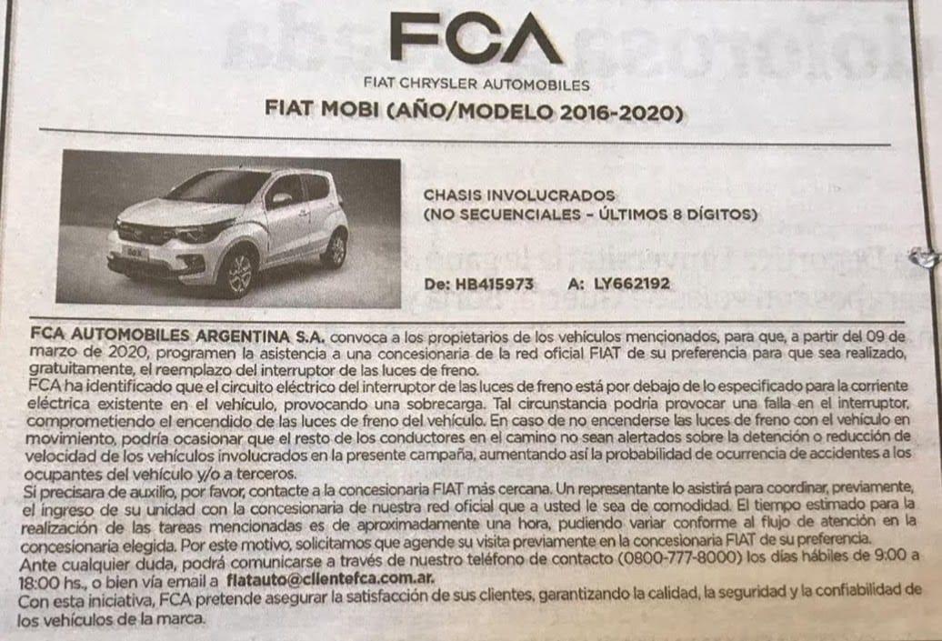 Recall Fiat Mobi
