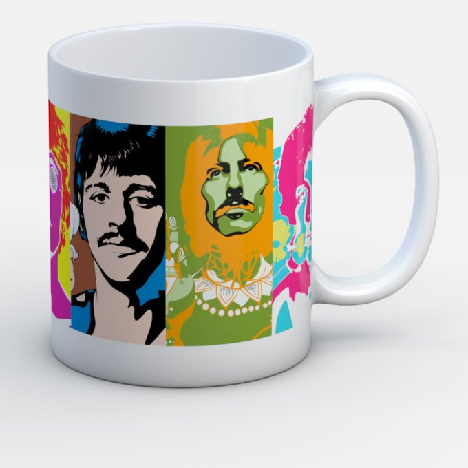 Beatles Inmortales Psicoldelico - Jarro de cerámica personalizado