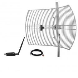 Pack GRID dish Antenna WiFi 24dBi +USB Adapter