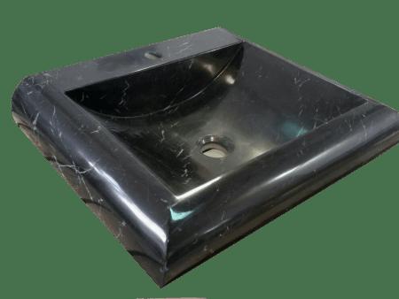 Lavabo de mármol modelo AM13 en color negro marquina visto desde arriba