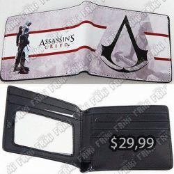 Billetera Videojuegos Assassins Creed, Bonita Apariencia, practico, Hermoso material Cuerina, Color Blanco y Rojo, Estado Nuevo