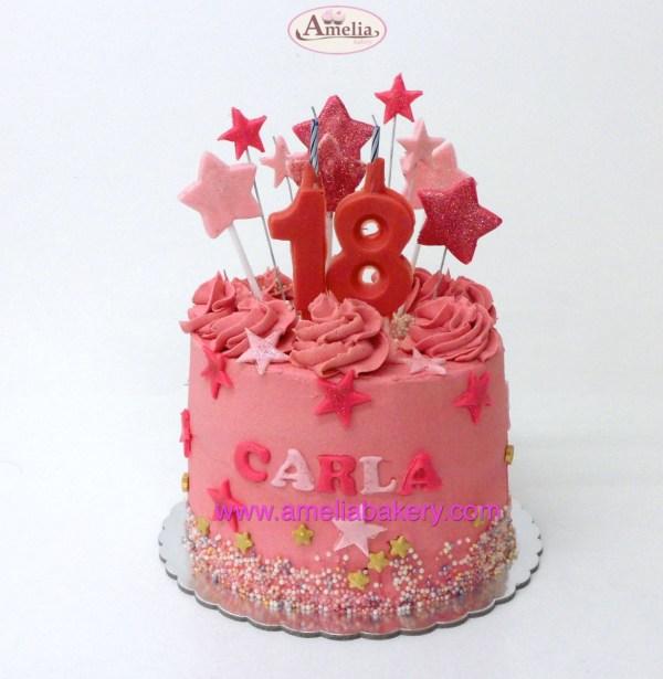 Pastel Fresa ó Frambuesa cumpleaños con estrellas y velas