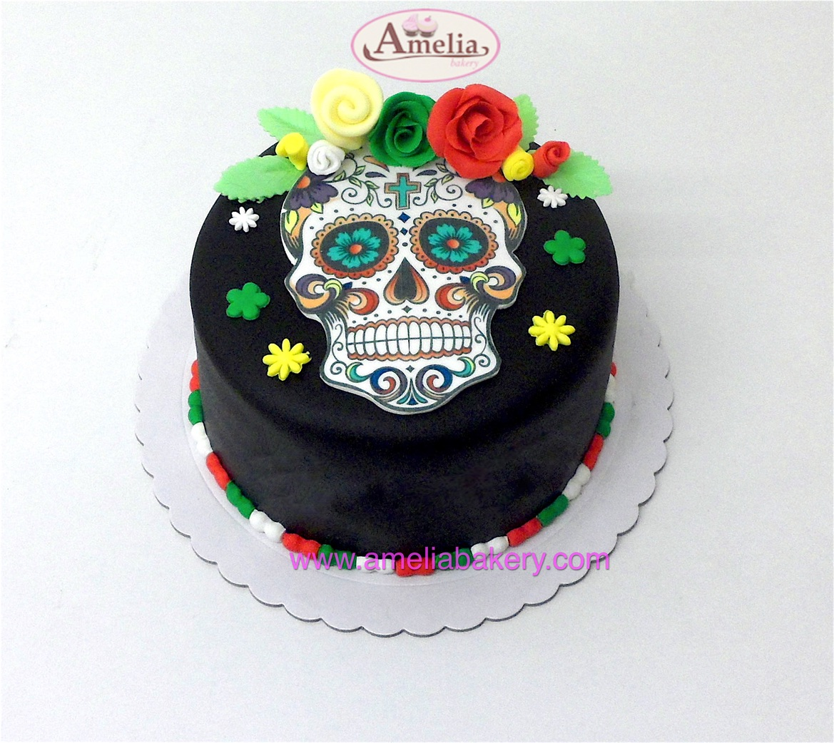 Tarta Catrina Calavera Mexicana y flores Fondant
