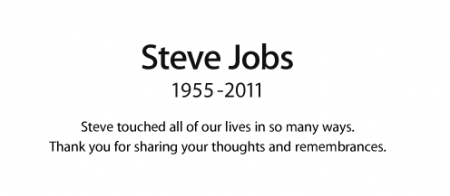 Một phần của trang tưởng nhớ về Steve Jobs trên website Apple.