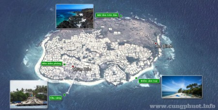 Bản đồ Google Maps của Đảo bé Lý Sơn và các điểm thăm quan. Nguồn: cungphuot.info