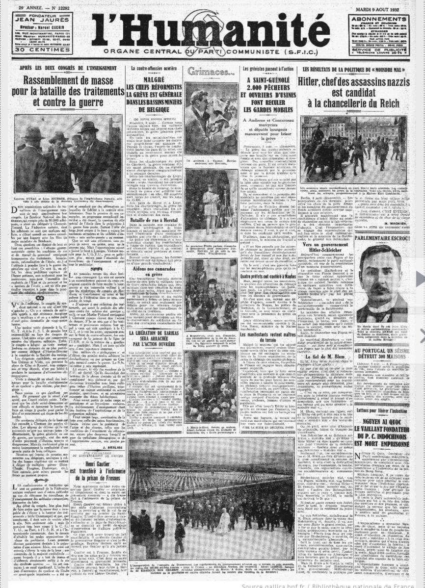 Phải chăng thật sự Hồ Chí Minh tức Nguyễn Tất Thành đã chết vì bệnh lao trong nhà tù HongKong - Le vaillant fondateur Du Parti communiste indochinois est Mort emprisonne như nhật báo L'Humanite' loan tải vào ngày 09/08/1932?
