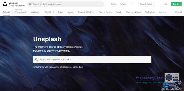 Unplash - trang web chia sẻ ảnh miễn phí khá nổi tiếng
