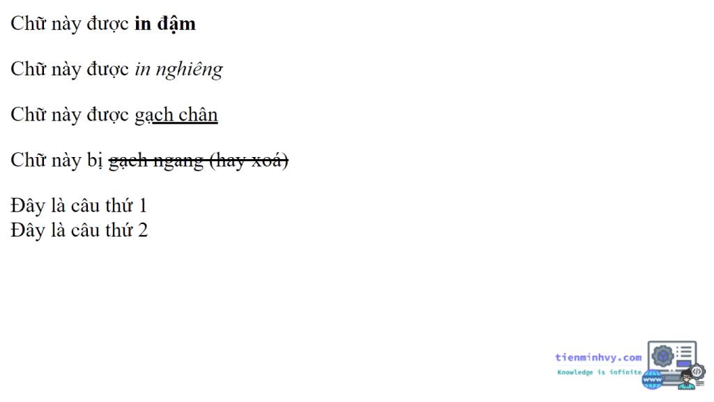 Định dạng văn bản trong HTML5 - thẻ định dạng văn bản khác