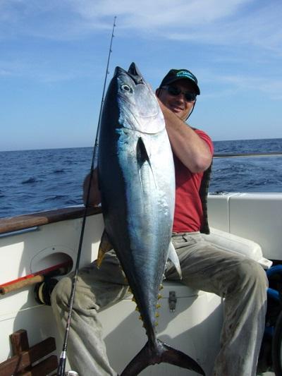 Hier hat Angelguide Toni einen riesigen Thunfisch überlistet.
