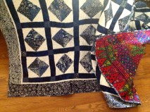 blue batik and white quilt, pattern from the Pine Needle
