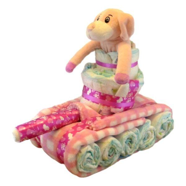 Tarta de pañales tanque de guerra niña