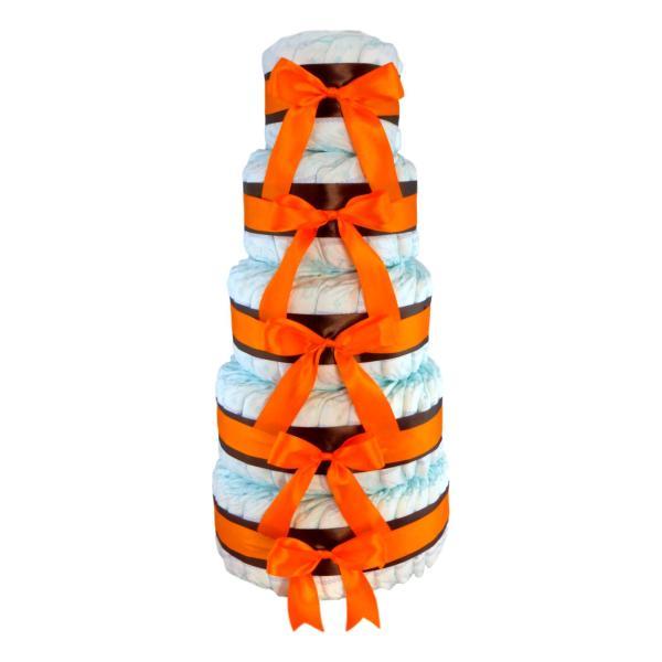Gran Tarta de Pañales de 5 pisos de altura, decorada con lazos de dos colores, nada más y nada menos que 100 pañales, un regalo especial y duradero y que los padres aprovecharán al 100%, la tarta de Montaña De Pañales Marrón / Naranja