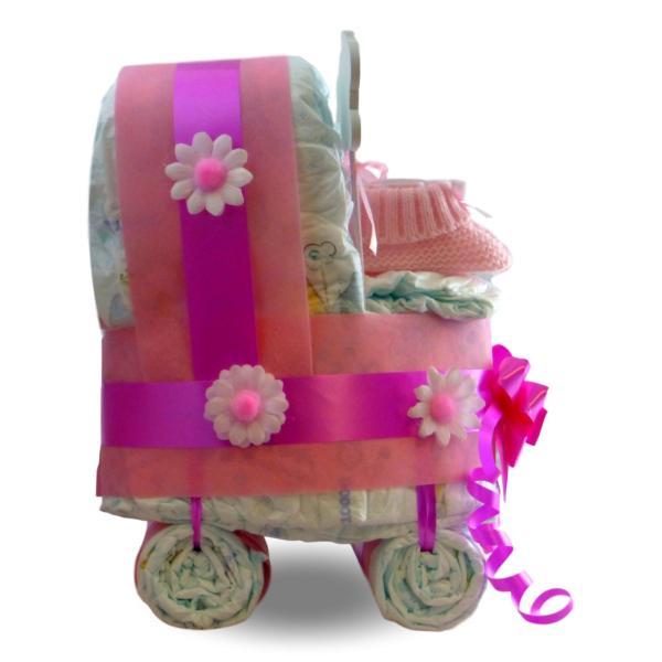 tarta de pañales cochecito carrito niña