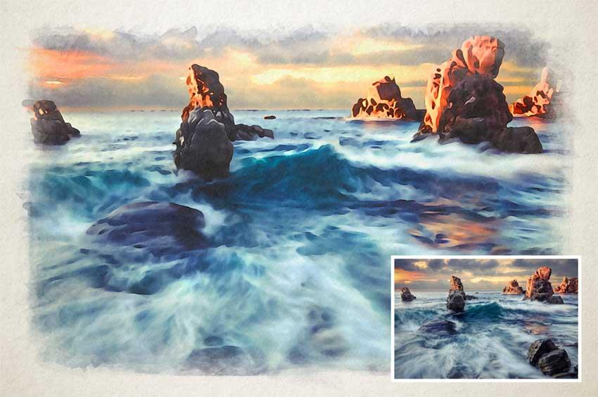 Aquarelle. Free Template Photoshop effet watercolor