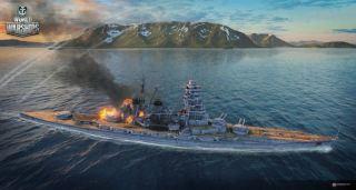 World of Warships - Barco con fuego en cubierta