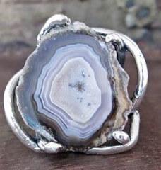 anillo con agata azul