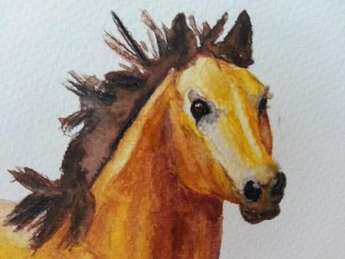 Pferdeportrait Mustang Aquarell