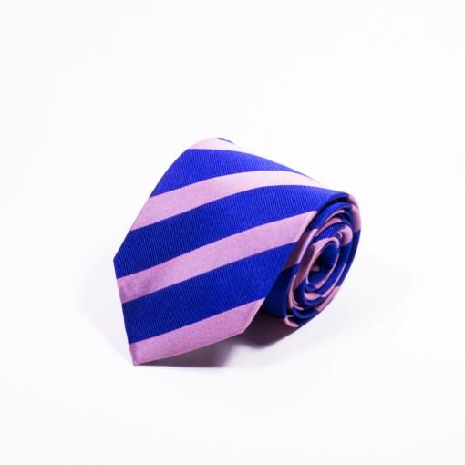 Gestreepte Stropdas Blauw-Roze