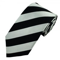 Black & Silver-White Striped Silk Tie from Ties Planet UK